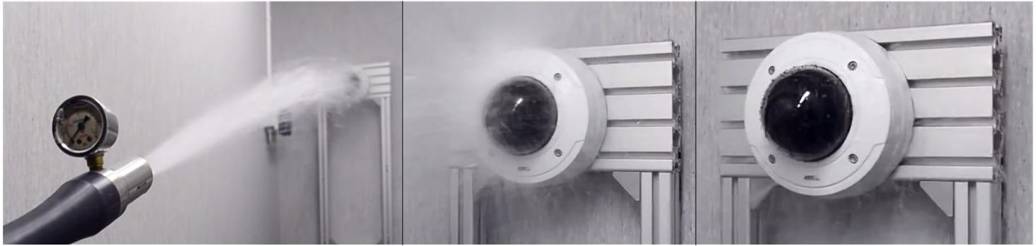 Ukázka testování IP kamery AXIS proti vodě